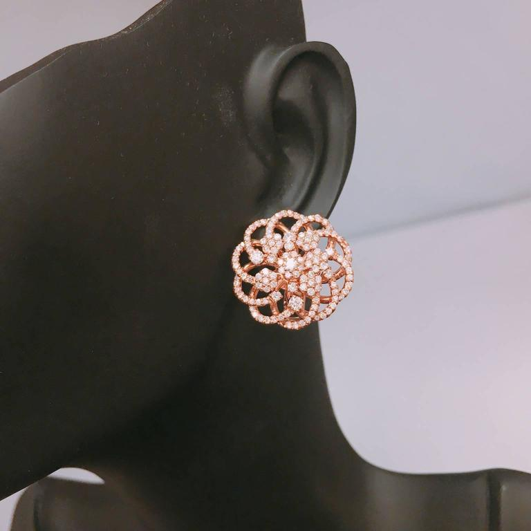 Rose Gold Micro Pave Floral Earrings  3