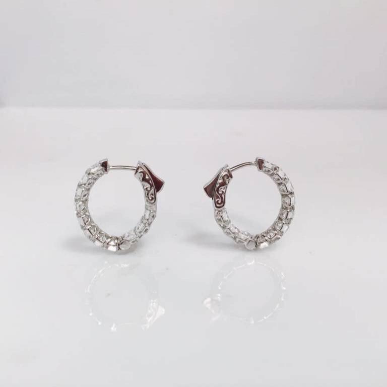 Emerald Cut Inside Out Diamond Gold Hoop Earrings For Sale 1