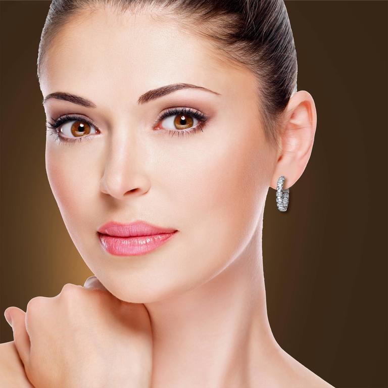 Women's Emerald Cut Inside Out Diamond Gold Hoop Earrings For Sale