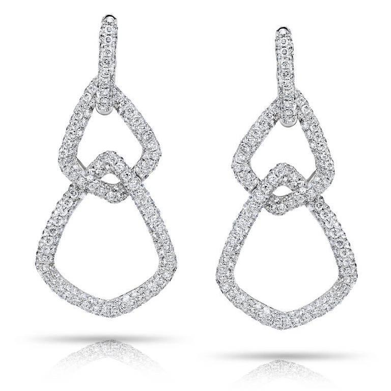 Delicate Micro Pave Diamond Gold Dangling Earrings 4