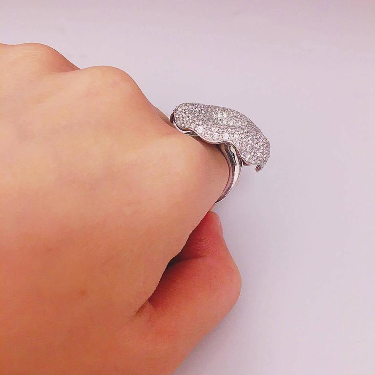 Modern One Of A Kind Diamond Cocktail Ring  For Sale