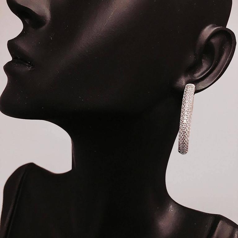 3.80 Carat Inside Out Micro Pave Diamond Hoop Earrings 3