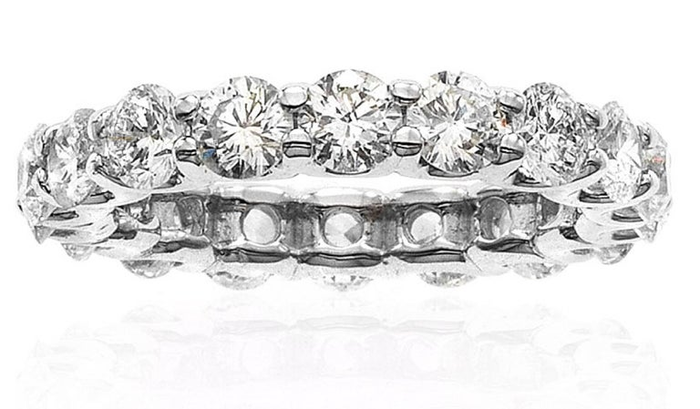 Women's Emilio Jewelry .32 Carat Each Diamond U Prong Eternity Band For Sale