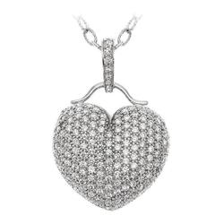 Puffed Micro Pave Diamond Heart