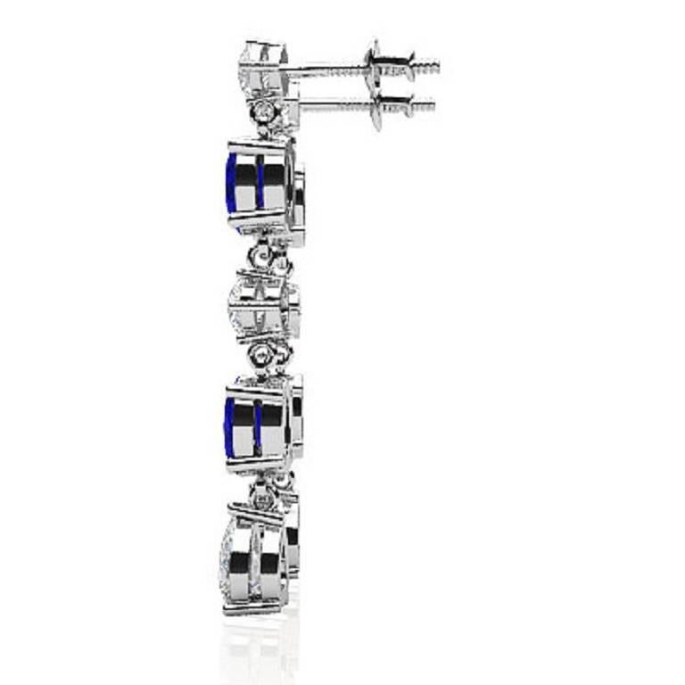 Fancy Diamond Sapphire Drop Earrings In As New Condition For Sale In New York, NY