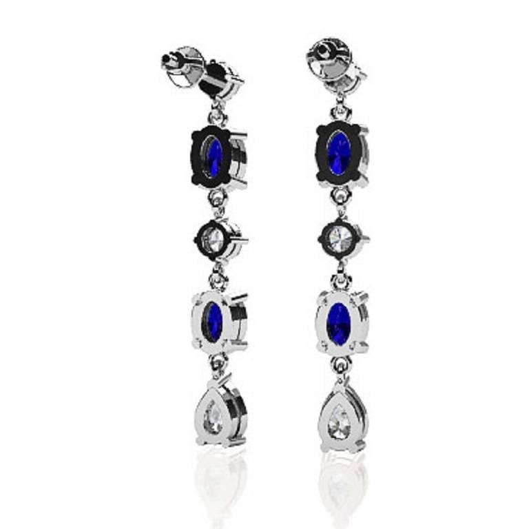 Women's Fancy Diamond Sapphire Drop Earrings For Sale