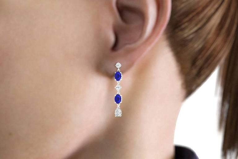 Fancy Diamond Sapphire Drop Earrings For Sale 5