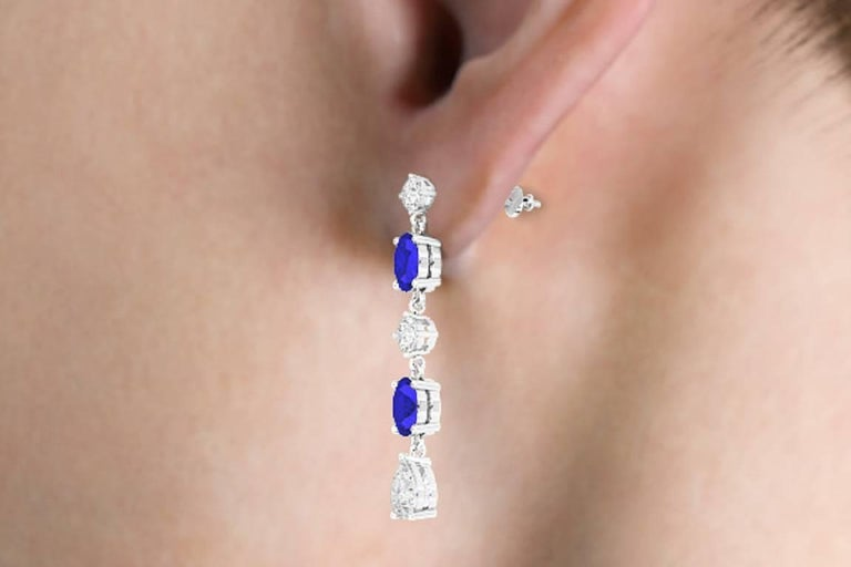 Fancy Diamond Sapphire Drop Earrings For Sale 6