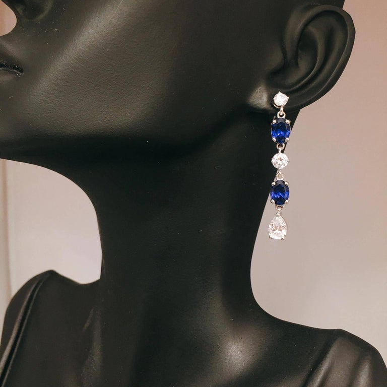 Fancy Diamond Sapphire Drop Earrings For Sale 1