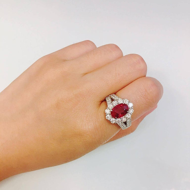 Women's Pigeons Blood Burmese Ruby Diamond Platinum Ring For Sale