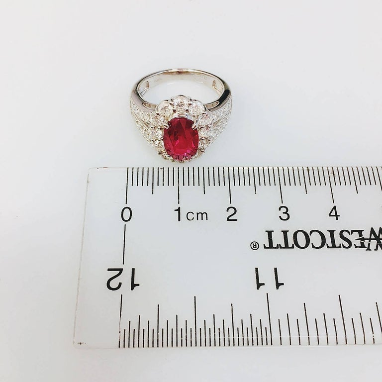 Pigeons Blood Burmese Ruby Diamond Platinum Ring For Sale 1