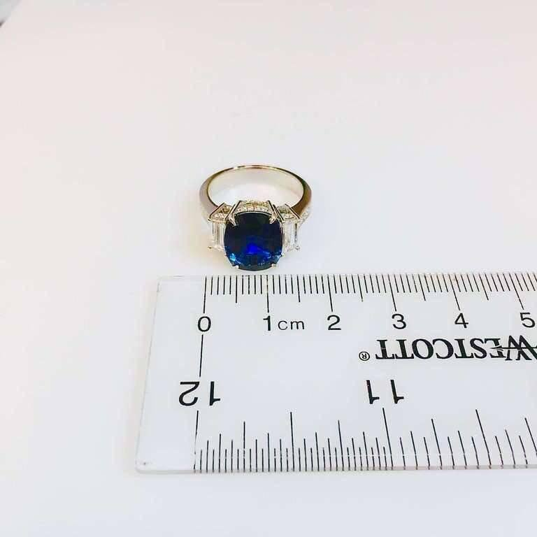 4.50 Carat Royal Blue Sapphire Diamond Ring For Sale 1