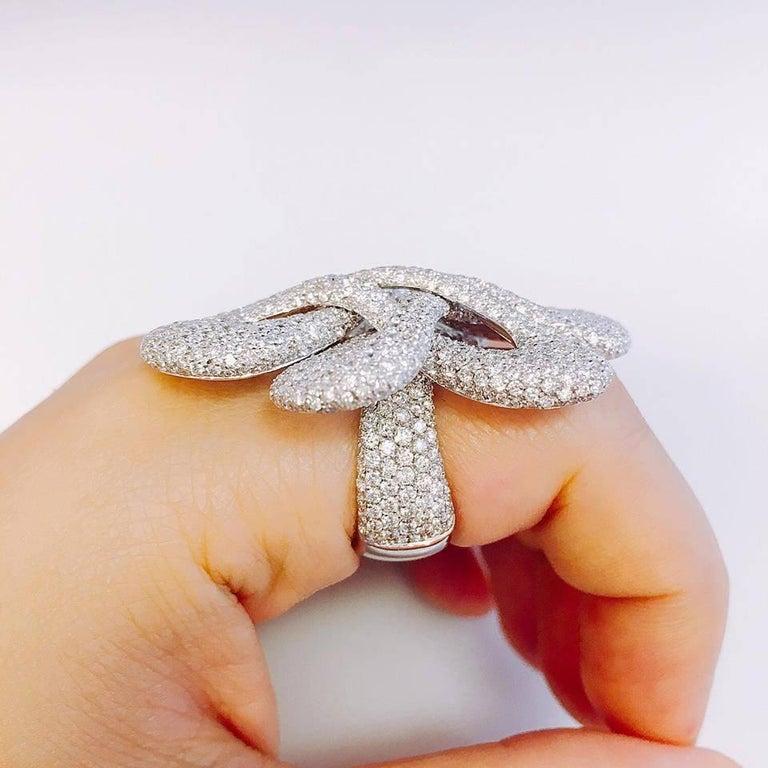 Modern Emilio Jewelry Striking Red Carpet Pave Diamond Ring For Sale