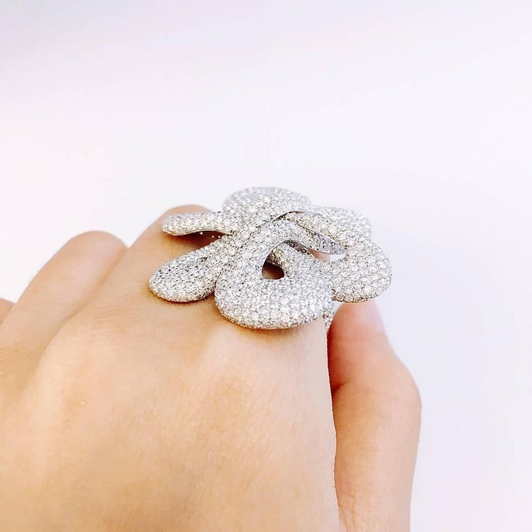 Emilio Jewelry Striking Red Carpet Pave Diamond Ring In New Condition For Sale In New York, NY