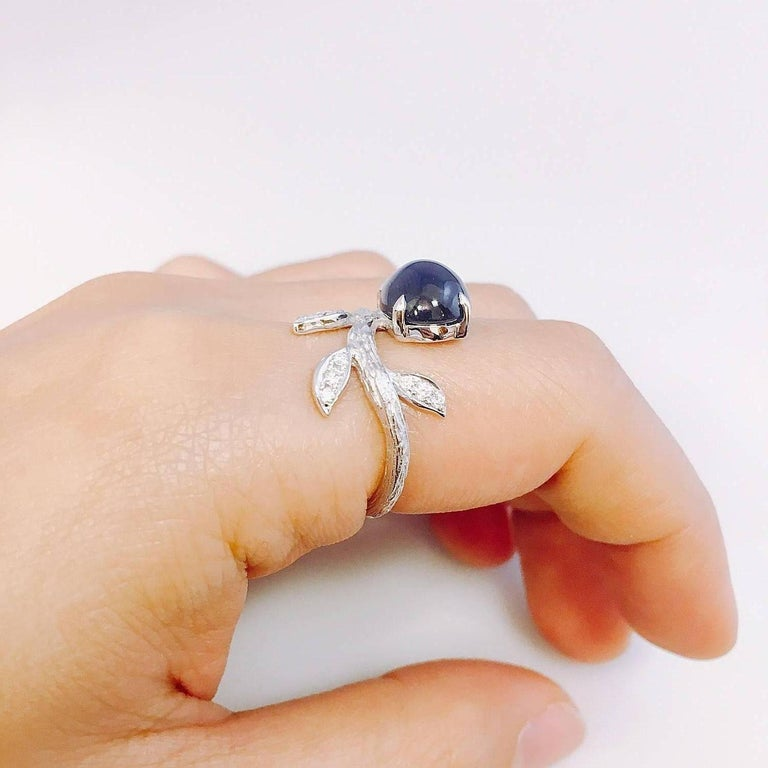 Modern Emilio Jewelry Cabochon Sapphire Diamond Ring For Sale
