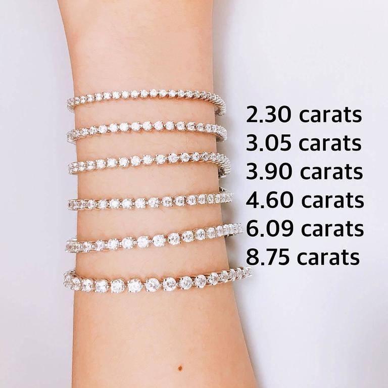 Emilio Jewelry 15 Carat Each Diamond Three Prong Tennis