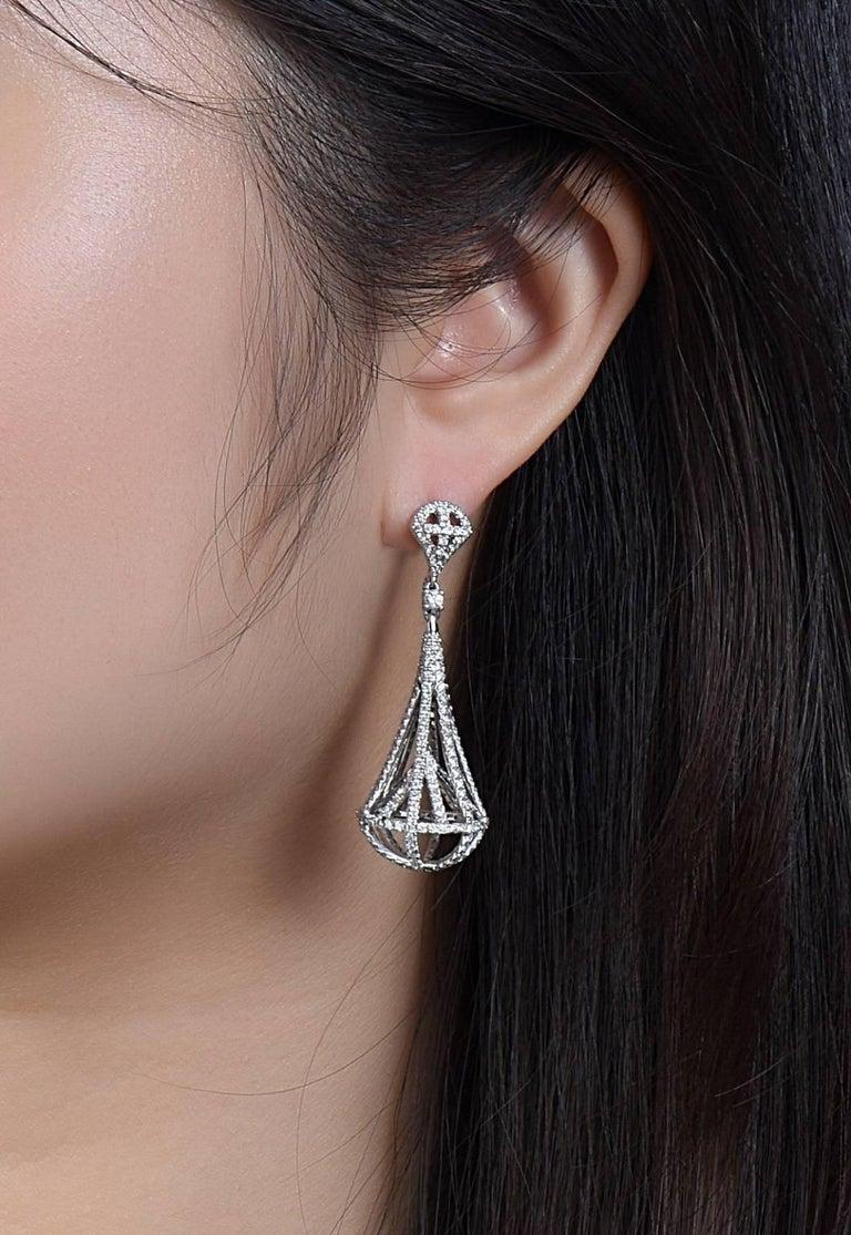 Modern Diamond Lantern  Earrings For Sale
