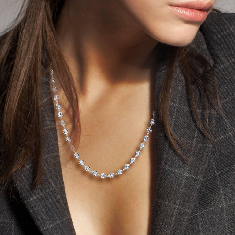 Our one of a kind link to link diamond necklace.  For your piece of mind, we hand make all of our jewelry right here in our own factory located adjacent to Rockefeller center. Our showroom is located at The World Diamond Tower directly on New York's