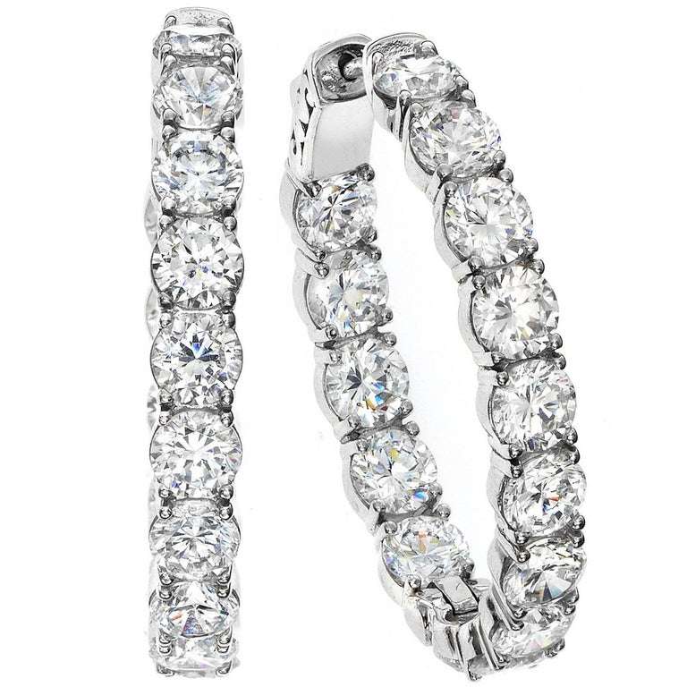 Emilio Jewelry .40 Carat Each Diamond Inside Out Oval Diamond Hoops