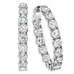 Emilio Jewelry .15 Carat Each Diamond Inside Out Diamond Gold Hoops Earrings