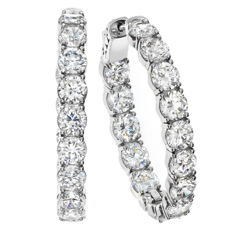Emilio Jewelry .15 Carat Each Diamond Inside Out Diamond Gold Hoops Earrings