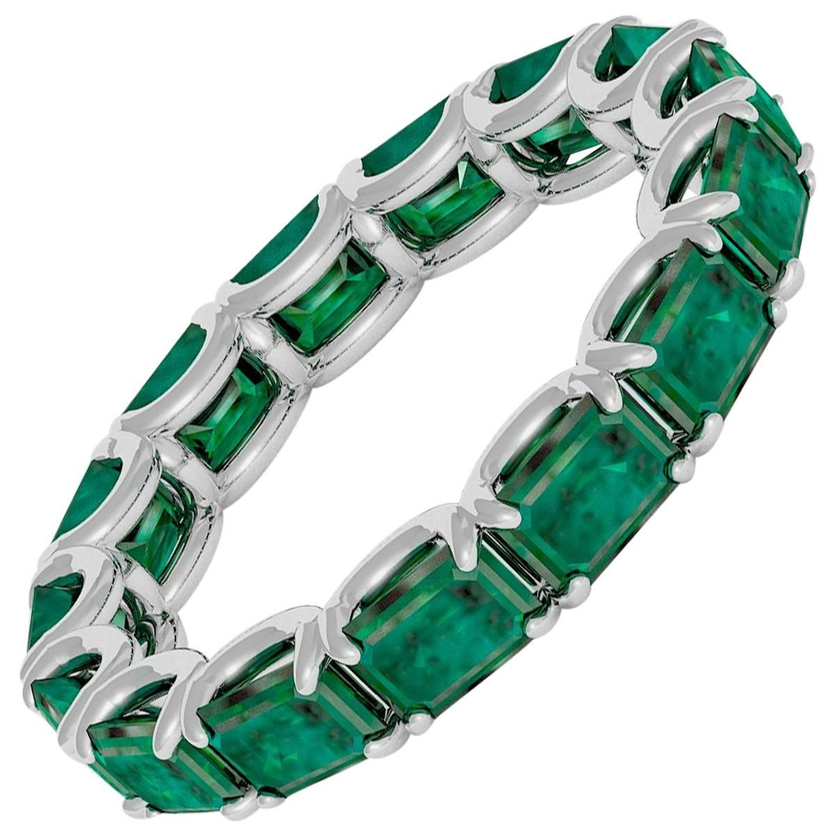 Emilio Jewelry Emerald Cut Emerald Eternity Band