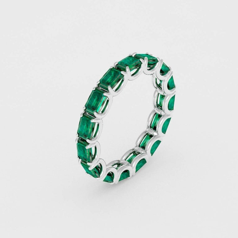 eternity band sala rings moissanite gemstone emerald bands products