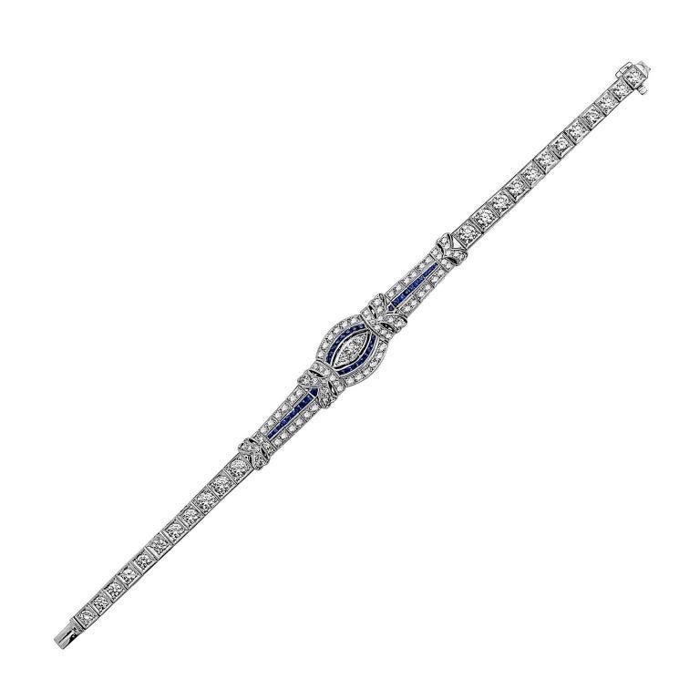 Emilio Jewelry 6.95 Carat Sapphire Diamond Art Deco Bracelet
