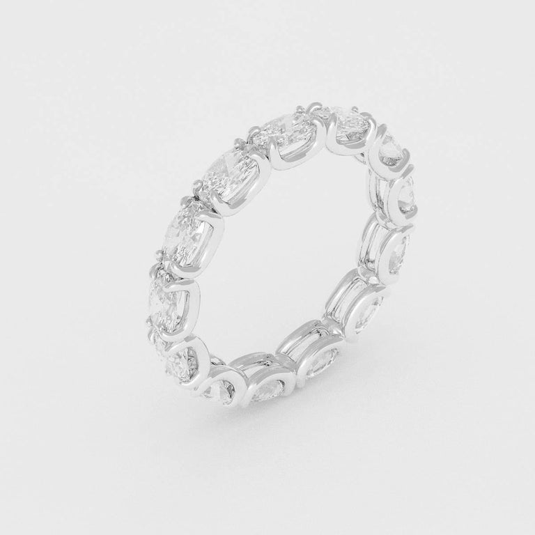 Emilio Jewelry U Prong Oval Diamond Eternity Ring, .30 Carat Each Diamond In New Condition In New York, NY