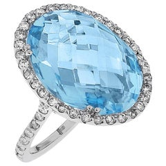 Emilio Jewelry 15.27 Carat Blue Topaz Diamond Gold Oval Ring