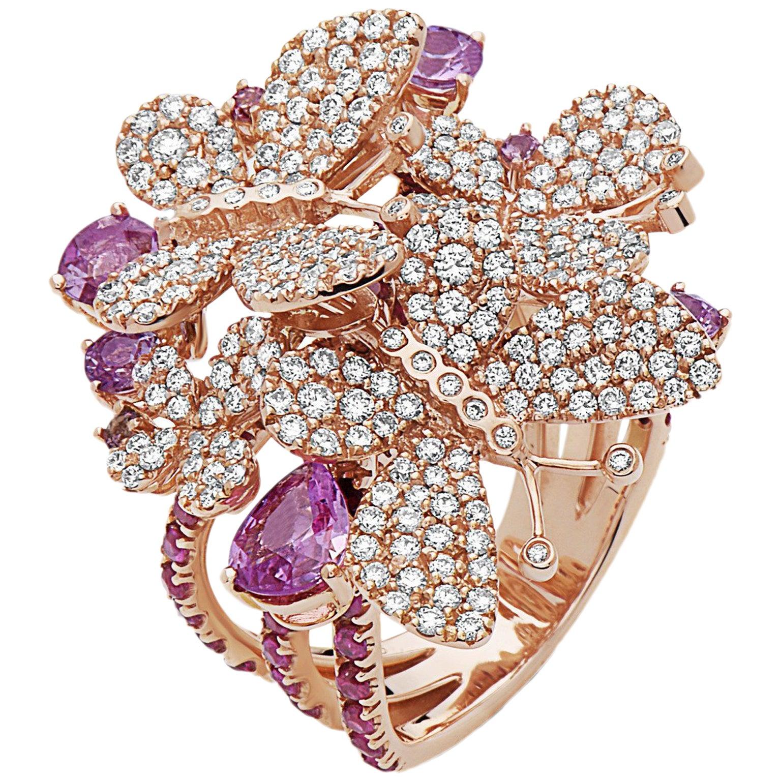 Emilio Jewelry Micro Pave Butterflies of Madagascar Diamond Ring