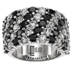Emilio Jewelry 6.68 Carat Black and White Diamond Gold Band Ring