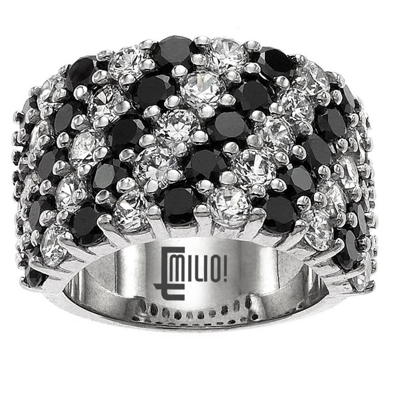 Emilio Jewelry 6.68 Carat Black and White Diamond Gold Band Ring For Sale