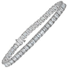 Emilio Jewelry 16.00 Carat Emerald Cut Diamond Bracelet