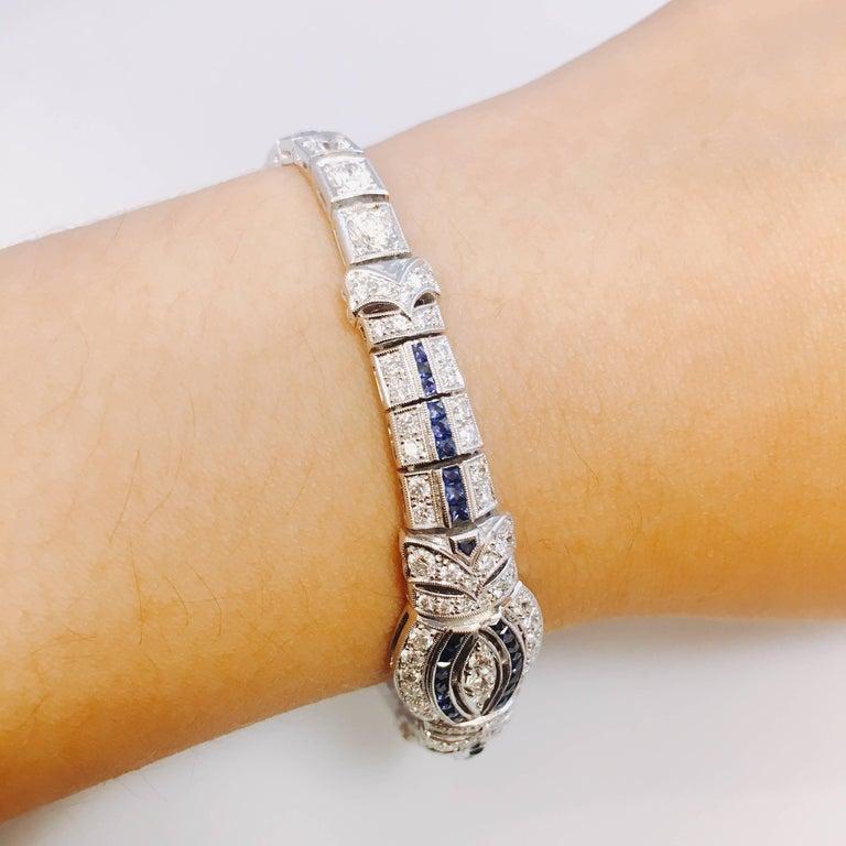 Modern 6.95 Carat Sapphire Diamond Art Deco Style Bracelet