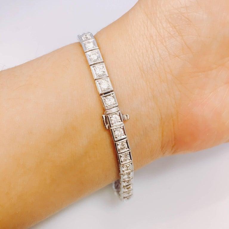 Round Cut 6.95 Carat Sapphire Diamond Art Deco Style Bracelet