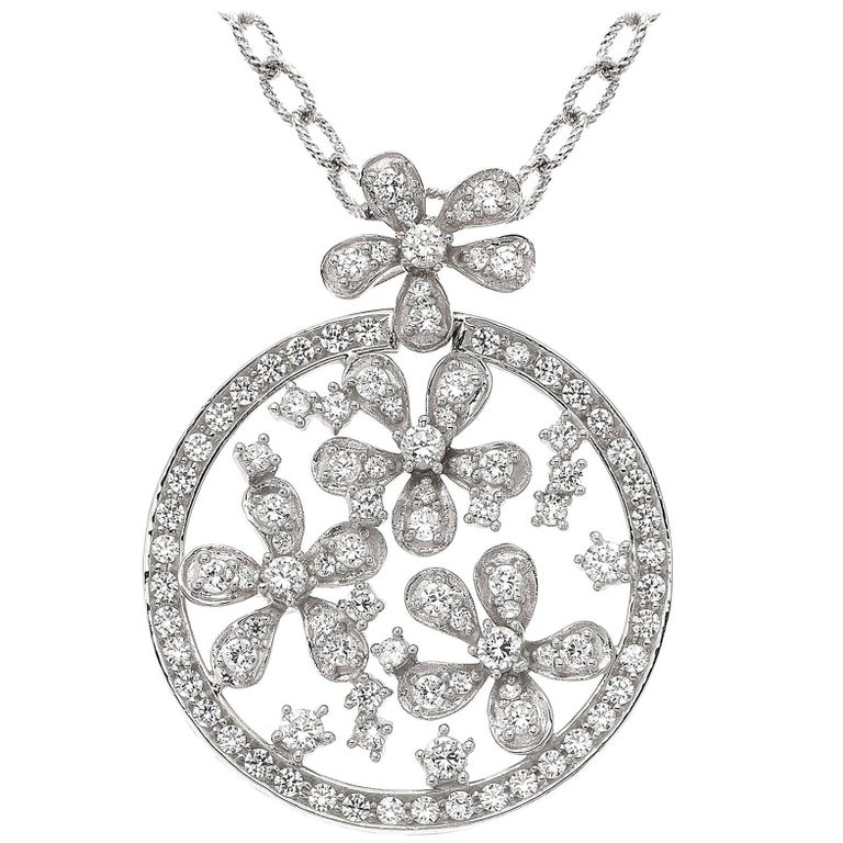 Emilio Jewelry Diamond Floral Necklace For Sale