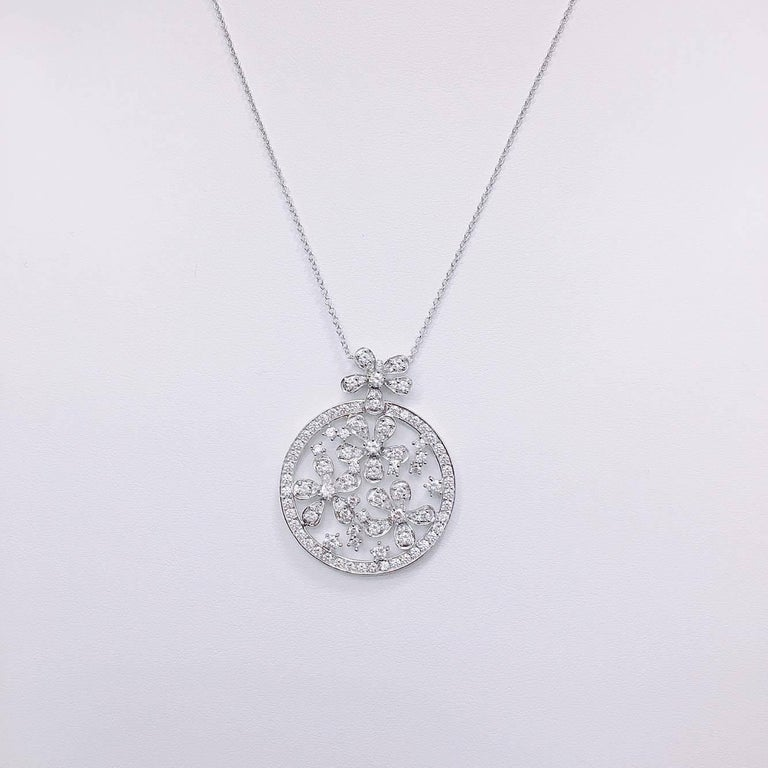 Approx. 2.18 carats total weight diamonds.The finest conflict free diamonds set in our unique diamond necklace. (Standard length is 17inch- 18inch, however we can alter this necklace to any size).  18K White Gold also Available in Yellow or Rose.