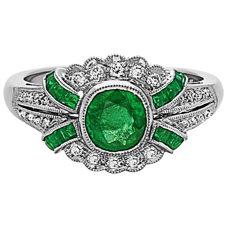Emilio Jewelry Emerald Diamond Art Deco Style Ring For Sale At 1stdibs