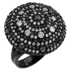Emilio Jewelry 3.77 Carat Black White Diamond Saturn Ring