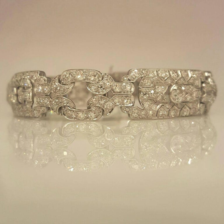 Appx.10.00cts t.w. VVs clarity F color conflict free, natural white diamonds.  All lengths available!  The hand workmanship of all the filigree is just amazing. If you appreciate details this bracelet is made for you! It is full of sparkle and shine