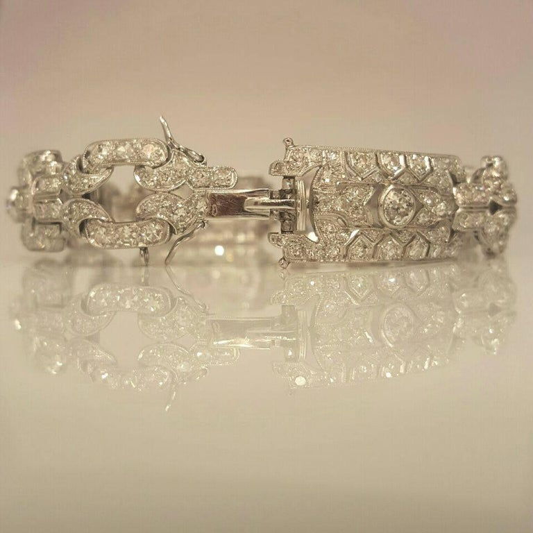 Round Cut Emilio Jewelry 10.00 Carat Art Deco Style Design Diamond Platinum Bracelet For Sale