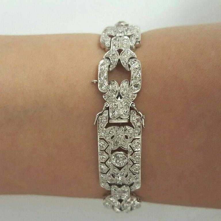 Emilio Jewelry 10.00 Carat Art Deco Style Design Diamond Platinum Bracelet For Sale 1