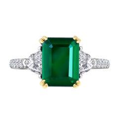 Emilio Jewelry Certified 4.64 Carat Emerald Diamond Platinum Ring