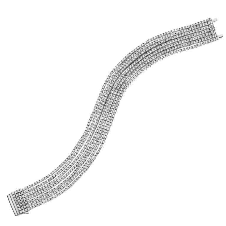 Emilio Jewelry Seven-Row 9.50 Carat Endless Diamond Bracelet For Sale