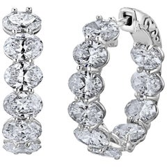 Emilio Jewelry Oval Diamond Oval Shaped Diamond Hoops