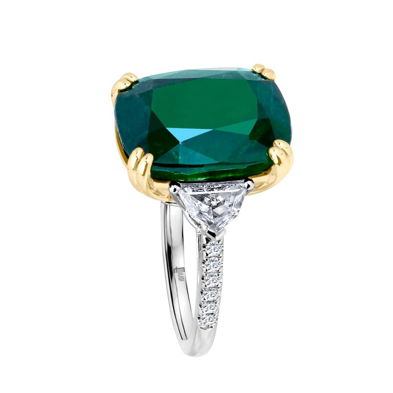 Women's Emilio Jewelry 12.27 Carat Certified Genuine Emerald Diamond Ring For Sale