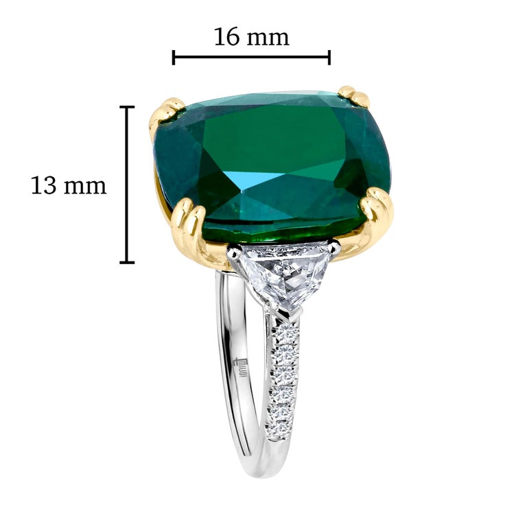 Emilio Jewelry 12.27 Carat Certified Genuine Emerald Diamond Ring For Sale 1