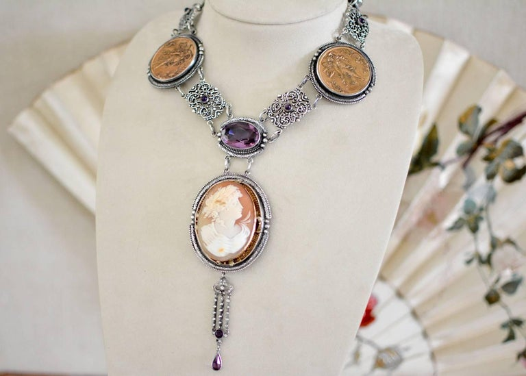 Artist Jill Garber Antique Goddess Cameo, Amethyst with French Medals Drop Necklace For Sale