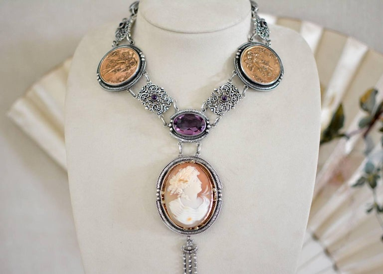 Oval Cut Jill Garber Antique Goddess Cameo, Amethyst with French Medals Drop Necklace For Sale